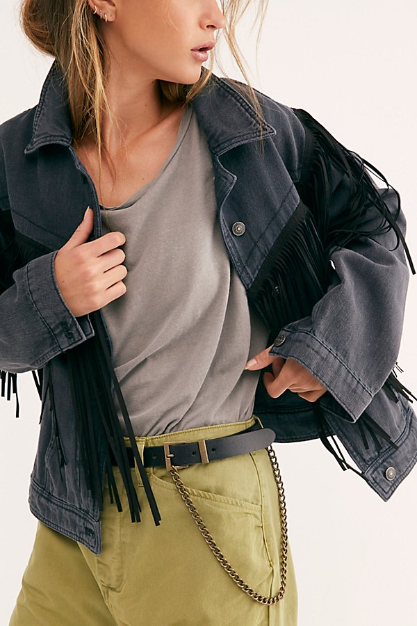 So cool leather belt featured in a thin design with distressed hardware details and a draped chain at the hip* Adjustable fit* Square buckle