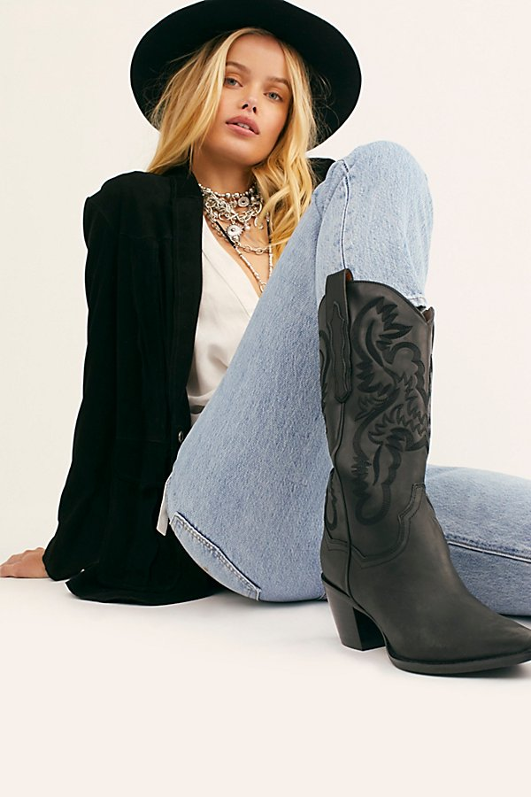 Stun in these so cool western-inspired boots from Jeffrey Campbell featuring classic embroidered details in a luxe leather design with a pointed toe and block heel* Pull-on style* Cushioned insole* Classic rounded edge* Pull tabs on either side