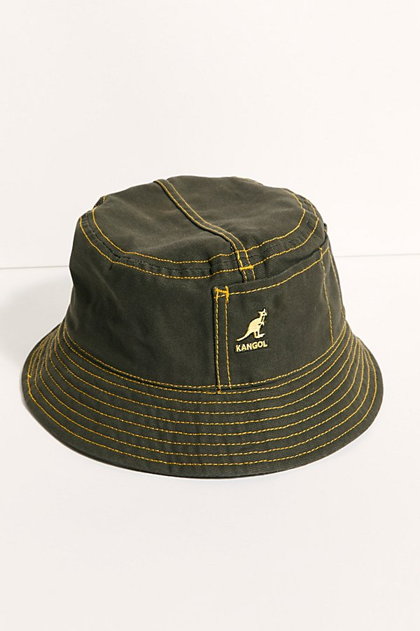The classic Kangol bucket hat gets a utility inspired update in a workwear canvas style with a flared brim and contrasting stitching* Soft, unstructured style* Floppy brim