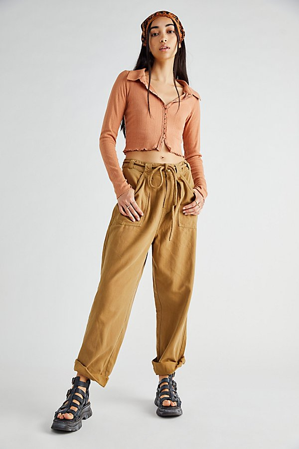 Free People Downs LIGHTS DOWN ROLLED STRAIGHT LEG PANTS