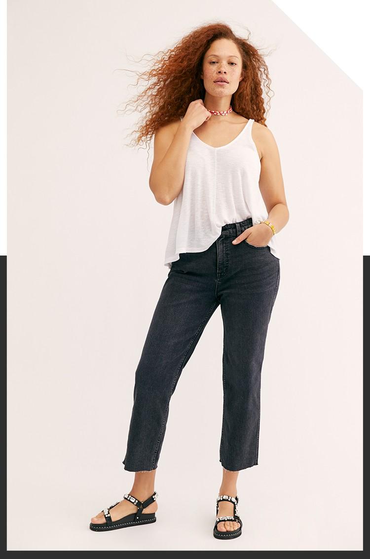 CRVY High-Rise Vintage Straight-Leg Jeans